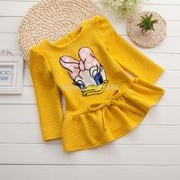 2014 New Kids Dress Long Sleeve Baby Girls Dress Cute Duck Princess Dress for Kids Clothes vestidos de menina 4 color