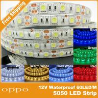 LED strip 5050 SMD 12V 48w flexible light 60LED/m,5m 300LED,White,White warm,Blue,Green,Red,Yellow