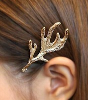 2014 Fashion Stylish Metal Gold Deer Antler Hairpins Women Barrettes Hair Clip Jewelry Hairwear 2PCS