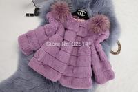 2014 New Women Genuine Rabbit Fur Coat Full Pelt fox fur shoulder Natural Rabbit fur Jacket Women Slim Fur Coat / Hot sale