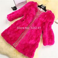 2014new Korean winter coat womenRex Rabbit Fur coat diamond three quarter Sleeve real fur coats for women wholesale