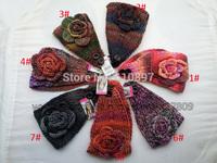 Wholesale 2014 new autumn winter multicolor hand back hook prepare women and girls warm wool flower headband hair band 30pcs/lot