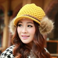 2014 New Wool Women Fedora Korean version of the cute rabbit fur ball ear cap thick warm winter fashion short brimmed knit cap
