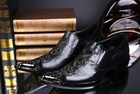 European version of the men pointed shoes carved iron tide men's British business casual leather shoes male hairdresser