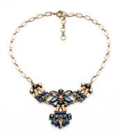 Brand J Gemstone Jewelry Crew Statement Necklace Lab Gold Link Chain Necklaces Pendants BOWquet 3 Color
