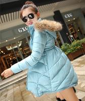 WWY65 2014 New Winter Coat Women Long Feather Padded Cape Coat Raccoon Fur Collar Slim Down Jacket