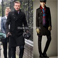 Casaco Masculino 2015 New Winter Fashion Beckham Double Breasted Long Wool Coat Mens Pea Coat Woolen Trench Coat Men Overcoat