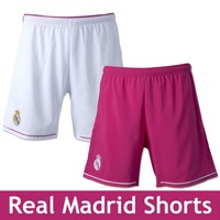 Real madrid 14-15soccer short Real madrid pantalones cortos Real madrid jersey A+++ quality White home Pink Away shorts