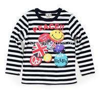 #7003 kids garment children spring autumn clothing 2T-8T boys/girls cotton o-neck long sleeve stripes t-shirts