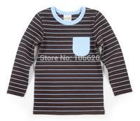 #4824 2T-8T spring autumn kids garment children clothing boys/girls cotton o-neck long sleeve stripes t-shirts