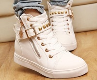 2014 new  women rivets canvas shoes +PU surface fashion belt buckle high running shoes for casual sneakers