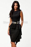Black One-Side Draped Stylish Peplum Dress 2014 New Arrival sexy Women Clothes Peplum Dress Midi Dress