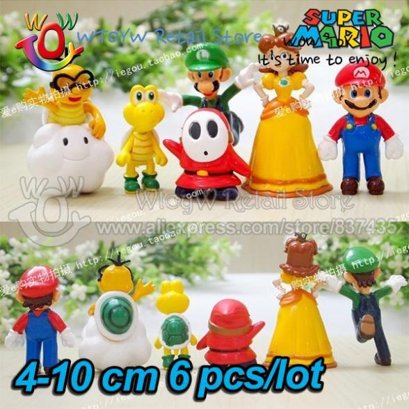 18pcs/lot free new 2014 shipping Super Mario bros princess 4-10 cm PVC action figures scale models baby toy brinquedos boys(China (Mainland))