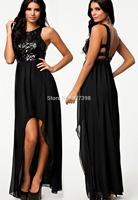 Sequined Backless Sexy Evening Dress 2014 New Fashion Chiffon Midi Dress Women Clothes Evening Dress