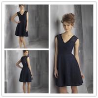 Adorable Short Min Length A-line V-neck Sleeveless Navy Bridesmaid Dress Lace