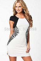 Leopard Side Contrast Bodycon Mini Dress Women Dresses 2014 New Fashion One-piece Lace Dress Summer Midi Dress