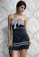 vestidos de fiesta girls dresses summer 2013 real autumn -summer New Sexy Navy Stripes Mini Dress with Bow