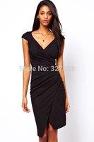 Short Sleeve Black And Blue Ruched Wrap Midi Dress ( M / XXL ) Women Elegant Dresses For Celebrity 2014 New Fashion