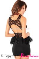 Black Open Back Lace Peplum Dress LC2689