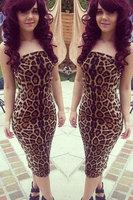 Hot Sexy Wild Leopard Strapless Midi Dress On sale 2014 New Arrival Fashion Women One-piece Dress Sleeveless Free Size Clubwear