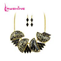 Royal Luxury Fashion Jewelry Sets Big Drop Black Rhinestone Necklace and Drop Long Tassel Earrings