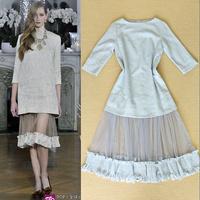 2014 Hitz catwalk models  retro sexy mesh stitching dresses