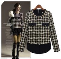 free shipping 2014 brand new plaid chiffon shirt women long sleeved shirt women blouses