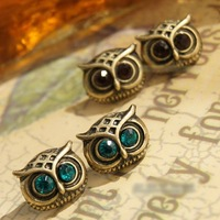 2014 Hot sales New Brand Design Fashion Romantic Vintage Elegant Rhinestone Eyes Owl Earrings Women Jewelry Cheap Wholesale PT31