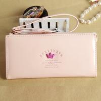 Korean fashion cute candy colored crown long paragraph snap closure zipper cross wallet