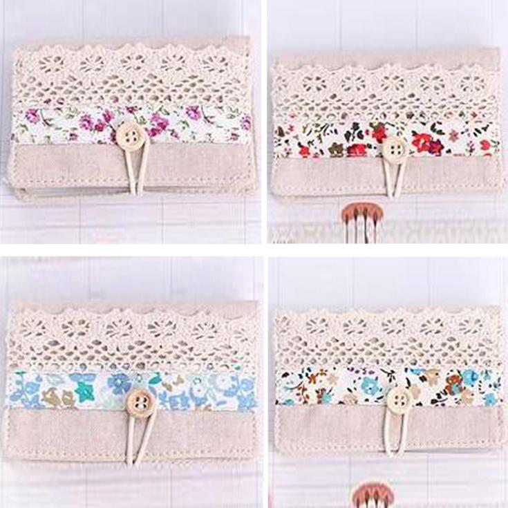 Women Canvas Flower Print Pattern Business Id Bank Card Pocket Bag Wallet Holder Case 4 Colors Drop Shipping BG-0432\br(China (Mainland))