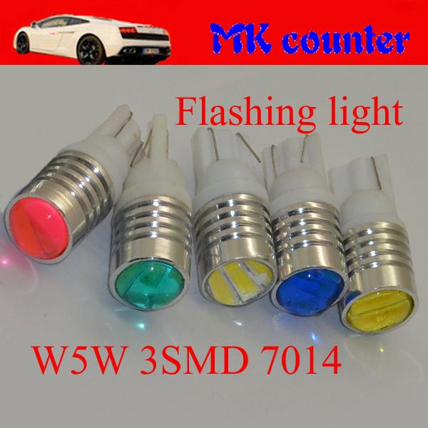HK Post free 100X T10 W5W 3 SMD 7014 LED Flash strobe Car Wedge Light 194 168 501 Side Parking Indicator Light Pink Green DC12V(China (Mainland))