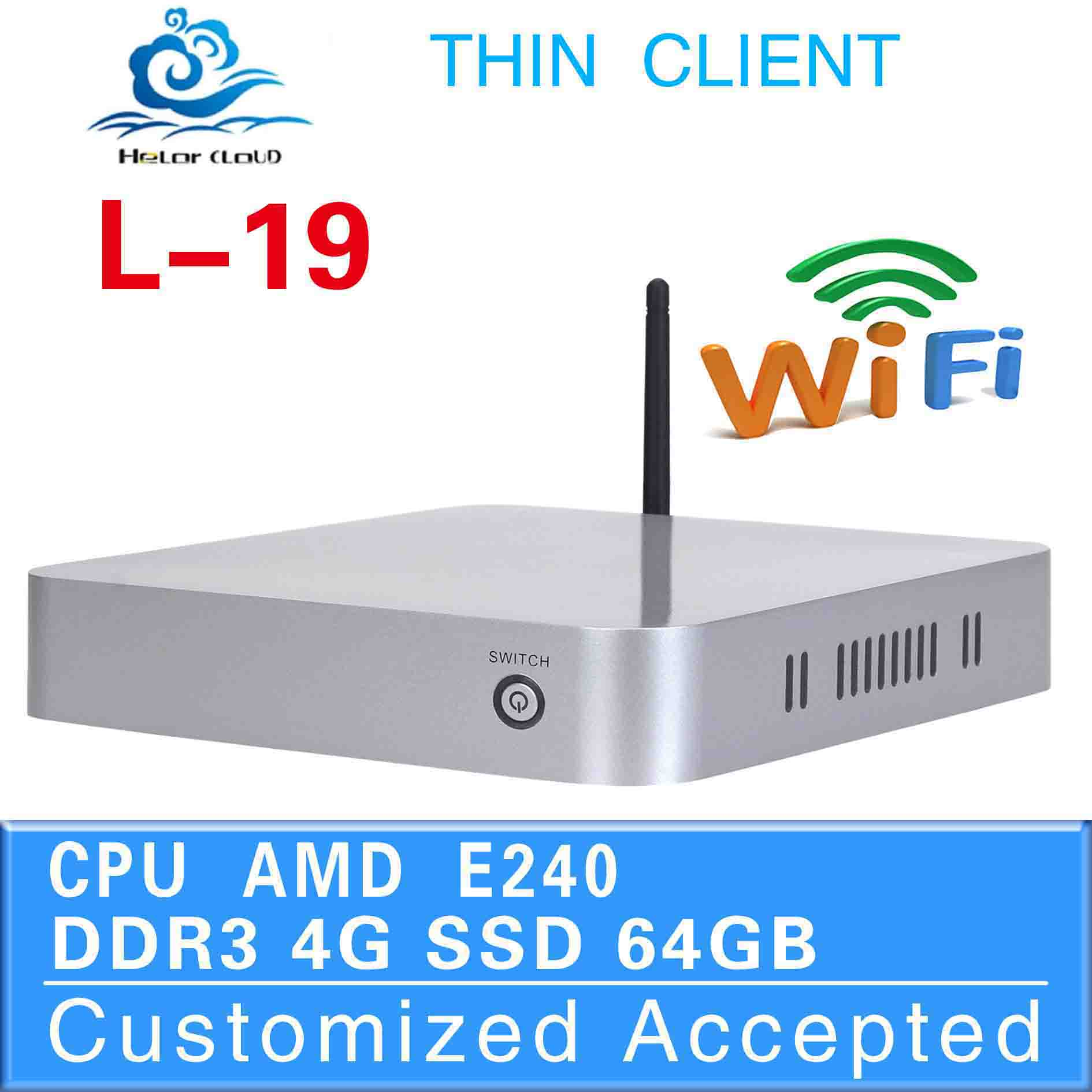 The most popular cheapest mini computer l-19 4g ram 64g ssd mini industrial pc fan AMD E240 network pc build-in-wifi thin client(China (Mainland))