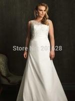 2014New arrival romantic Scoop A-line back ZipperTaffeta llace above slim vestido de casamento longPlus Size Wedding Dresses