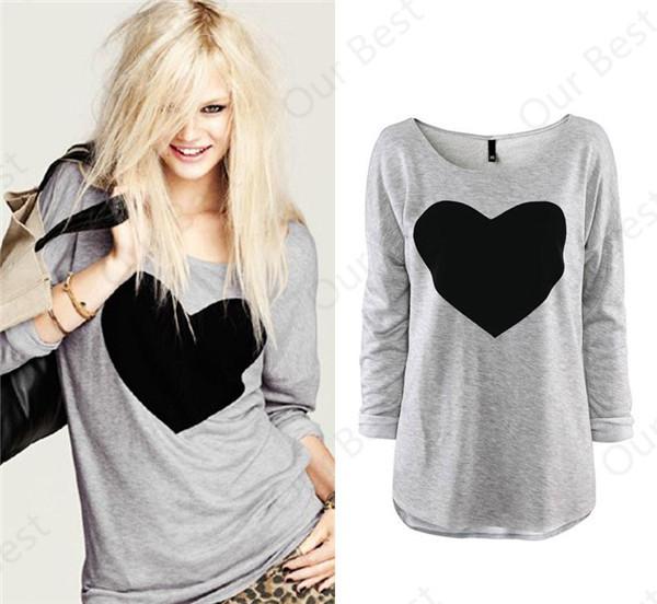 Большой размер 2015 мода женщин свободного покроя футболка топы рубашка тис пр любовь в форме сердца отпечатано о шеи полный рукав женская одежда