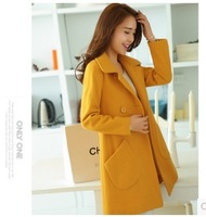 Autumn Winter Warm Long Sleeve Wool Blends Long Coat Turn-down Collar Double Breasted Cashmere Coat For Female Free Shipping
