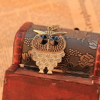 Free shipping New Fashion High quality Vintage pattern black gem Eyes owl Sweater Necklace statement jewelry for women 2014 PD23