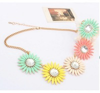 Europe and America Top Brand Sweet Girl Rhinestone Flower pendant&necklace