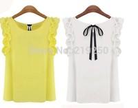 2014 new women fashion solid color chiffon shirt free shipping