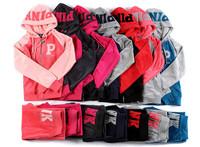 Brand New Fashion American Womens sports set Velvet Leisure suit Combination of motion suit Hoodies & Pants   P001