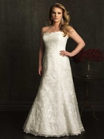 2014Elegant fashionable Strapless A-line gown is lovely in lace back Zipper white/ivory longPlus Size Wedding Dresses