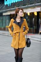 Free shipping 2014 winter long section of Korean women Slim windbreaker jacket belt coat collar women