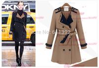 2014 qiu dong long sleeve double-breasted long belt coat dust coat