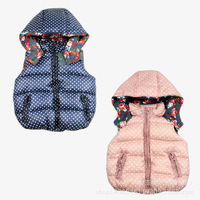 New Brand 2014 Baby Girls Vest Hooded Dot Style Fashion Children Coat 2 Color you can choose Free Shipping K4168