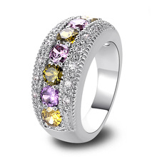 Wholesale Fashion Jewelry Round Cut Peridot & Amethyst & Citrinre & Pink & White Sapphire 925 Silver Ring Size 6 7 8 9 10