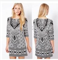 2014 Hitz retro pattern totem Slim Sleeve Dress