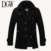 DGW 2014 new winter men's casual lapel wool woolen coat wool coat male trench coat for men