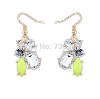 Free shippingNew Arrival Fashion Elegant Women Resin Crystal Dangle Earrings Ear Hook 1 Pair
