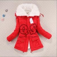 2014 new winter thick slim cotton coat women's adjustable waist jacket outwear 6 colors S-XL Q107