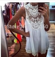 Hot 2014 New sleeveless lace mini dress sexy hollow