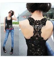 2014 spring new ideas openwork crochet lace vest woman